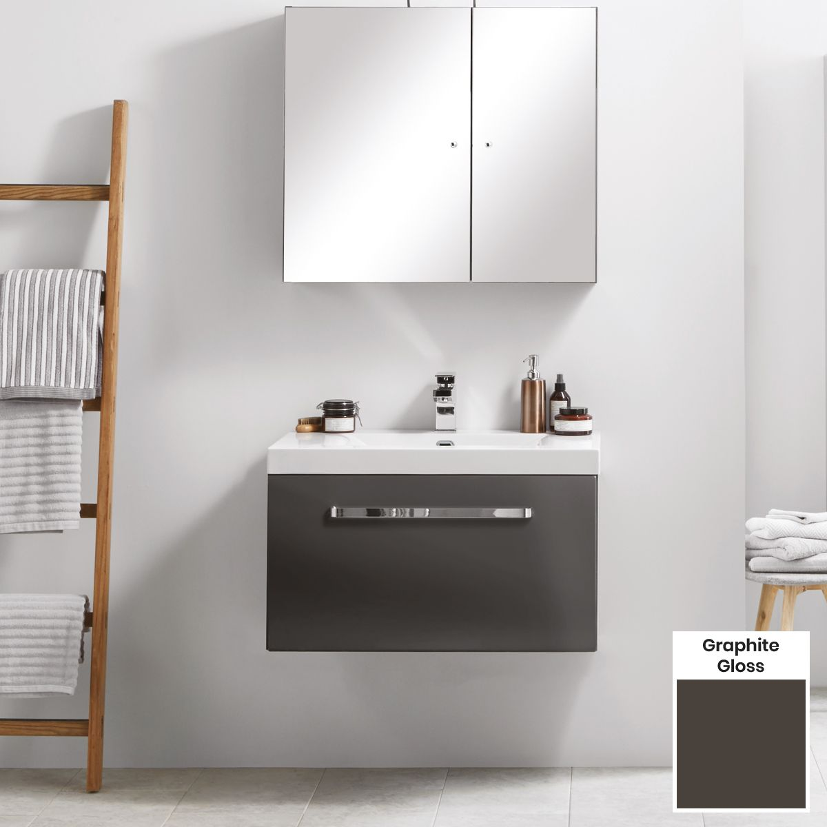 Elation Eko Graphite Gloss Vanity Unit with Slab Drawer 750mm