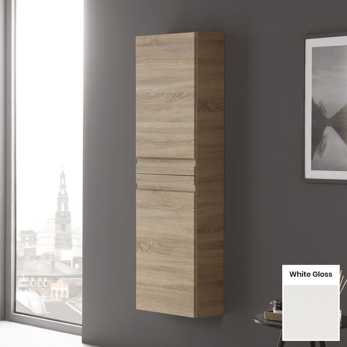 Elation Eko White Gloss Tall Unit with Slab Door 1500mm