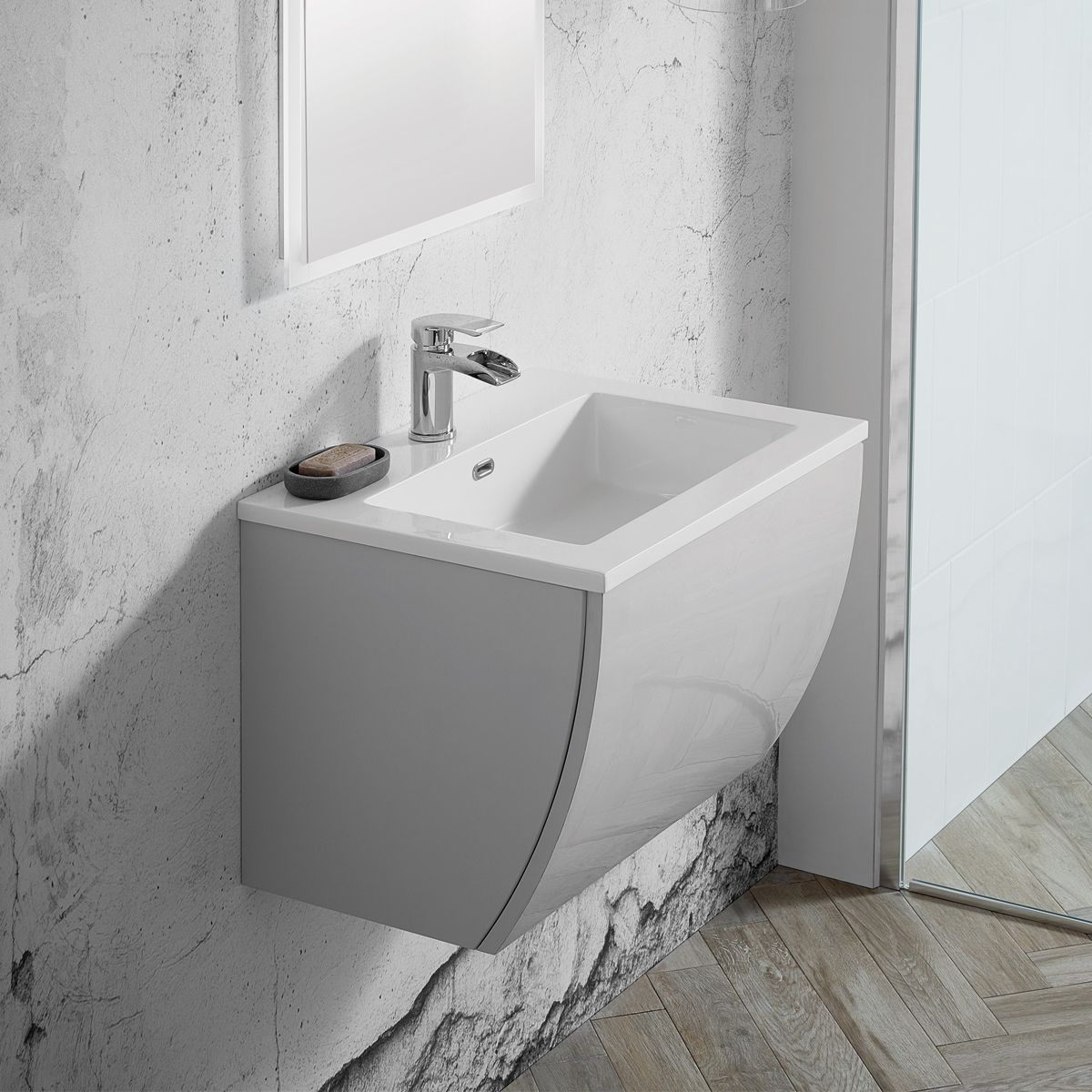 Elation Kiyo Pearl Grey Gloss Vanity Unit 550mm