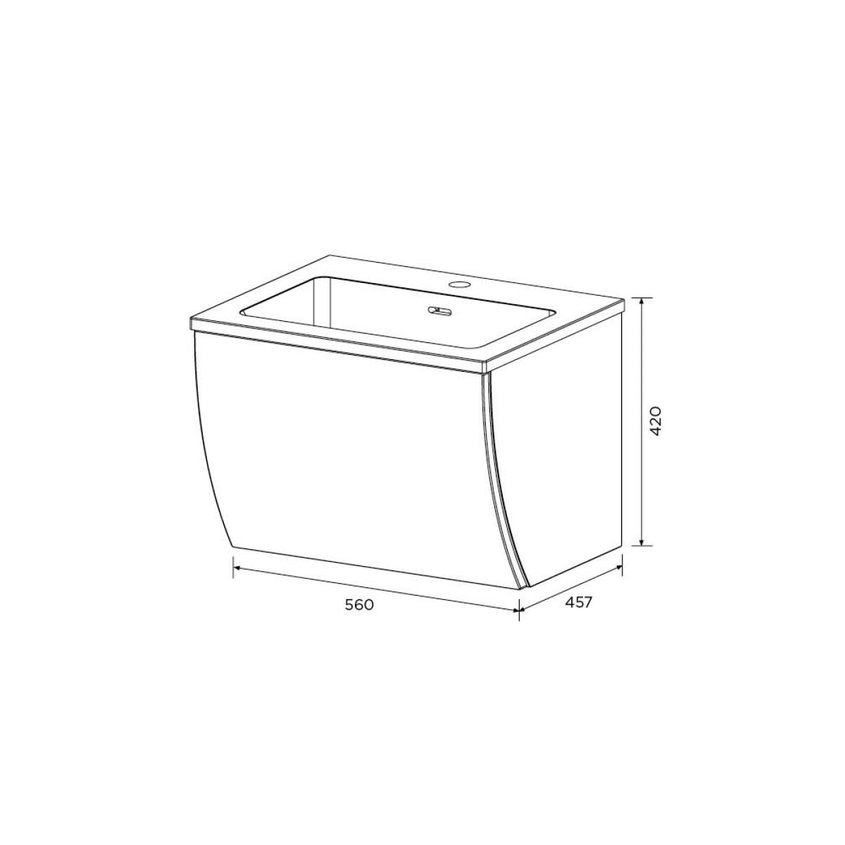 Elation Kiyo Pearl Grey Gloss Vanity Unit 550mm Dimensions