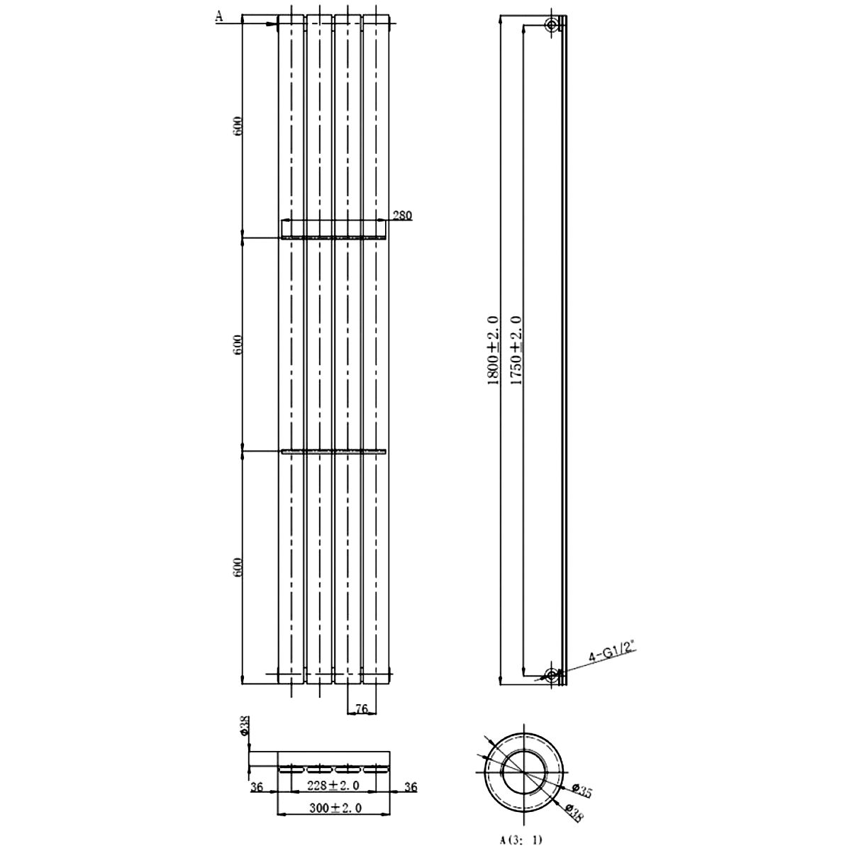 Front Line Zenith Chrome Vertical Radiator 1800mm x 300mm Line Drawing