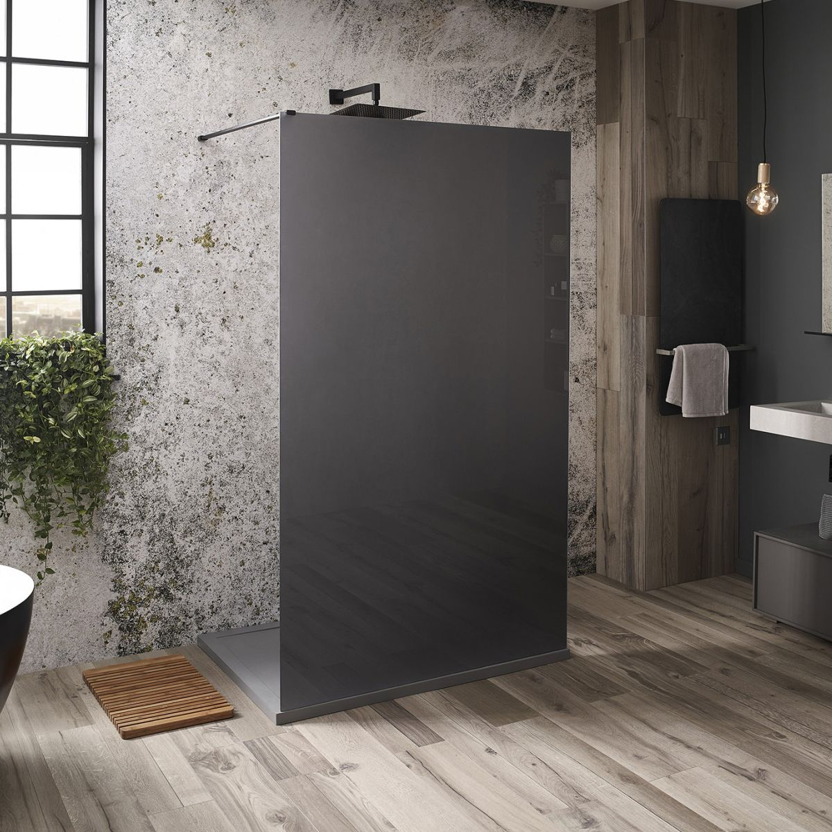 Frontline Aquaglass Mono Black Frosted Shower Screen with Dual Access Pack
