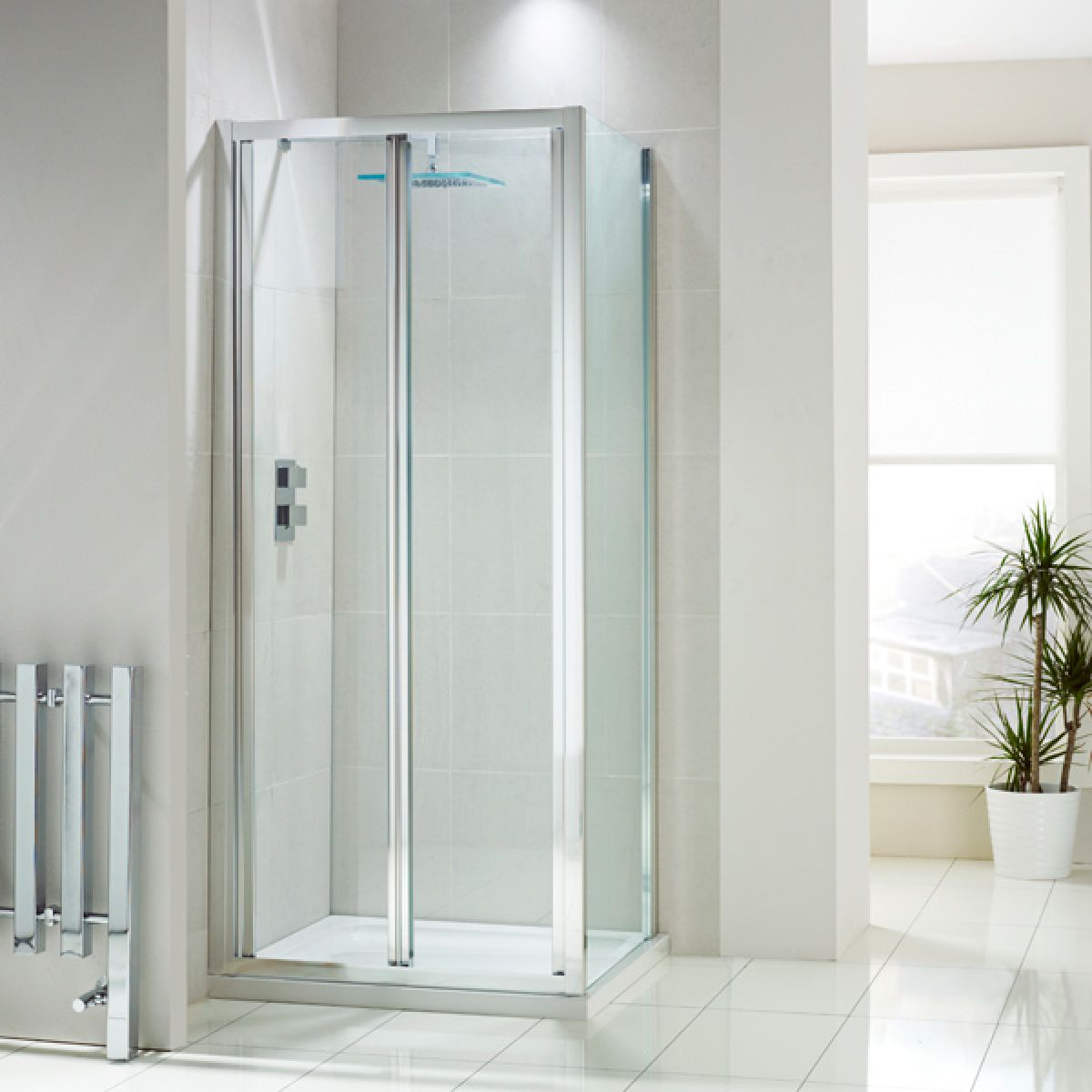 Frontline Aquaglass+ Bi-Fold Shower Door with Optional Side Panel