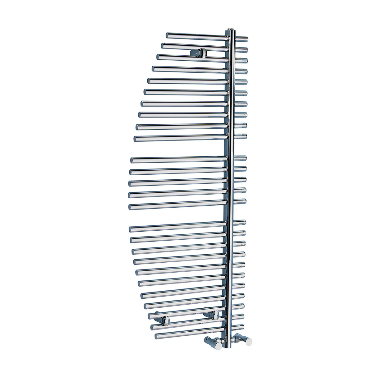 Frontline Burj Chrome Heated Towel Rail With 3 Geometric Hanging Areas W470 H900
