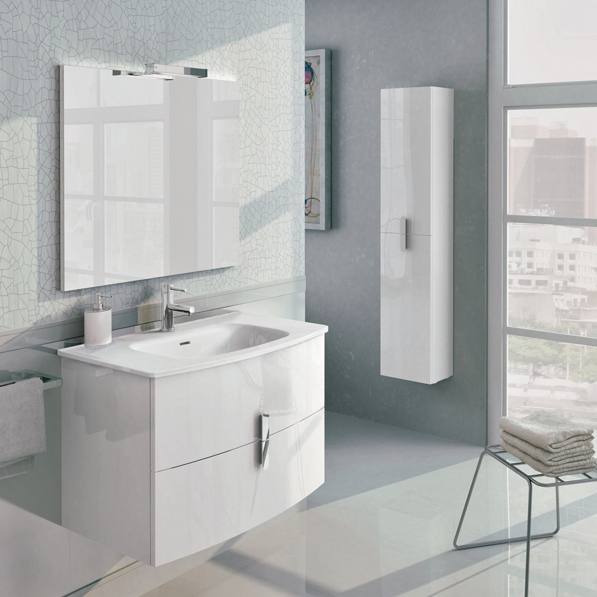 Frontline Emme Gloss White Vanity Unit and Toilet Set