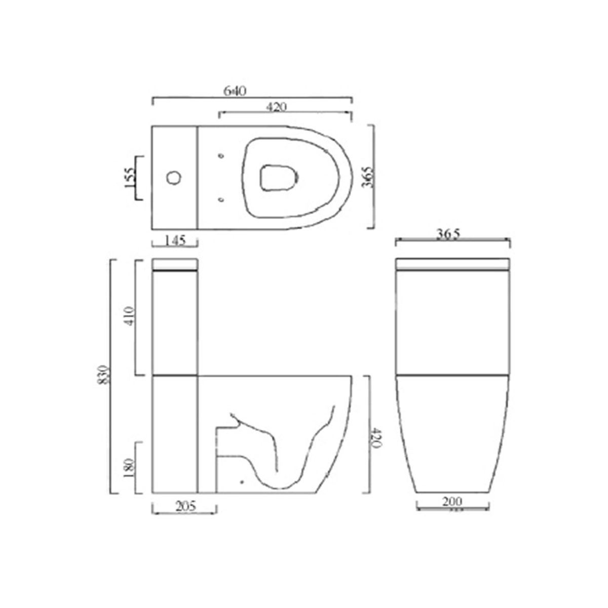 Frontline Emme Close Coupled WC Pan Measurements
