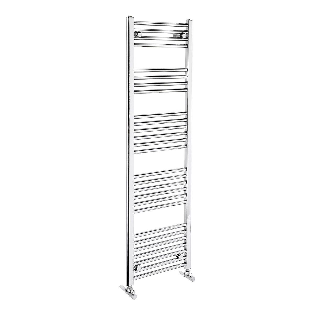 Frontline Flat Chrome Heated Towel Rail With Multiple Hanging Areas W450 H1500