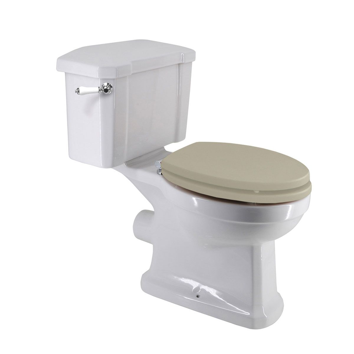 Frontline Holborn Close Coupled Toilet with White Wooden Soft Close Toilet Seat