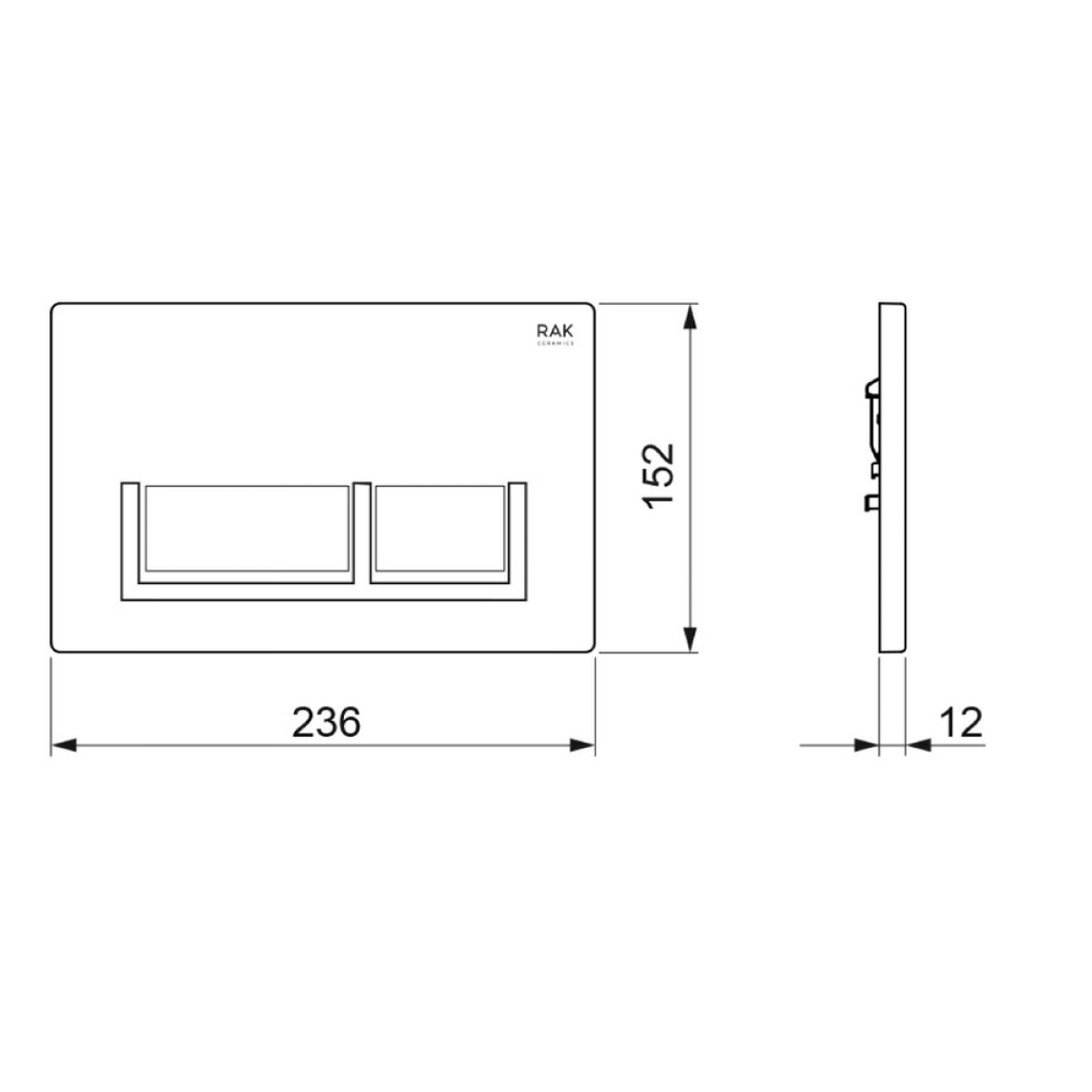 RAK Ecofix White Flush Plate with Surrounded Rectangular Push Buttons Measurements