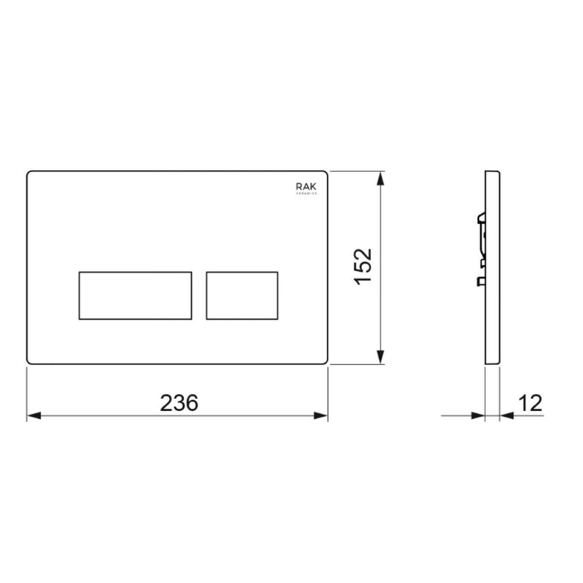 RAK Ecofix Matt Chrome Flush Plate with Rectangular Push Buttons Measurements