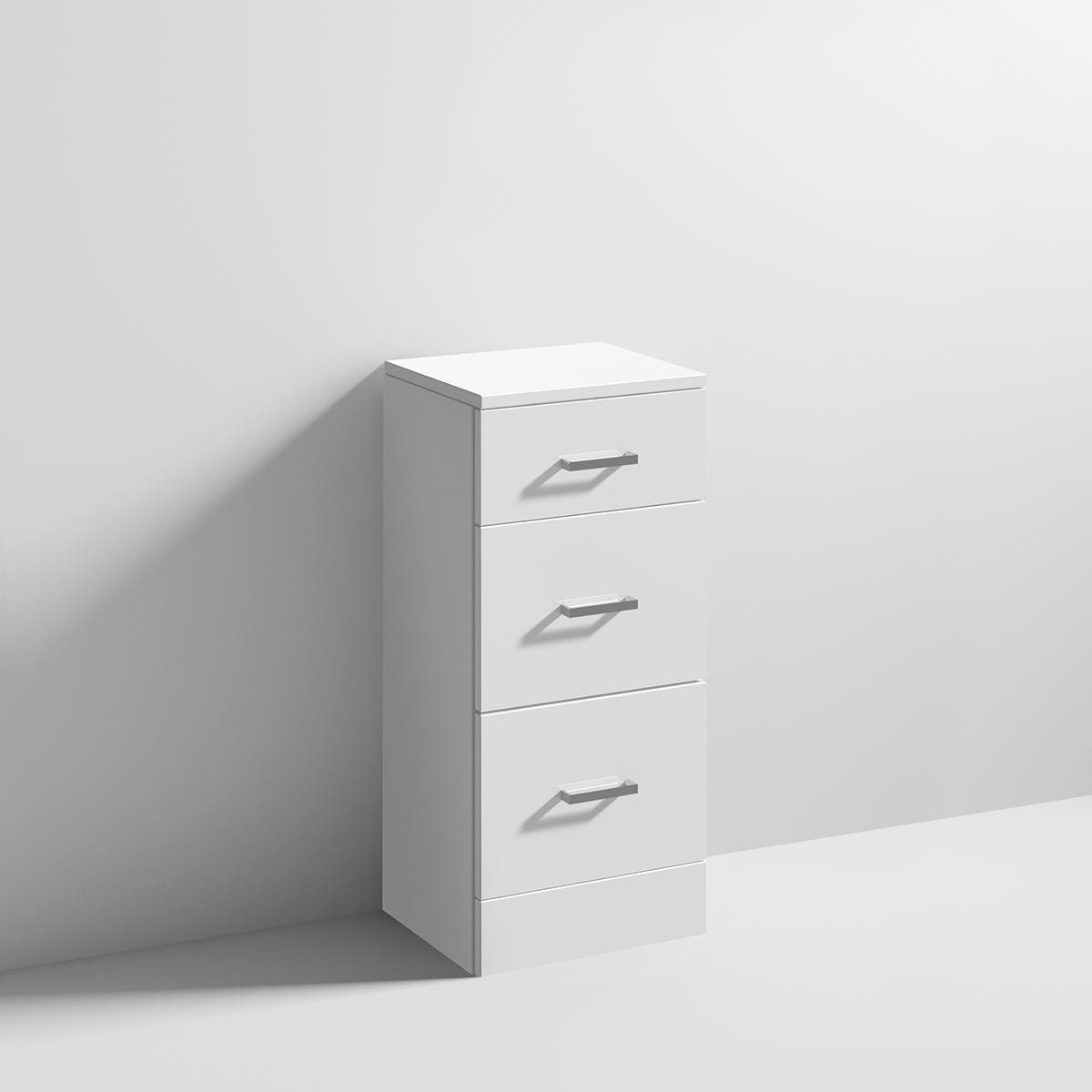 Nuie High Gloss White 3 Drawer Storage Unit