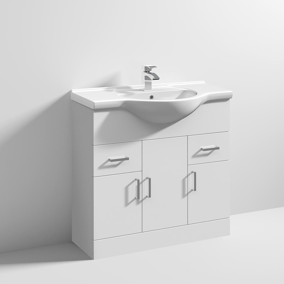 Nuie High Gloss White Vanity Unit 850mm