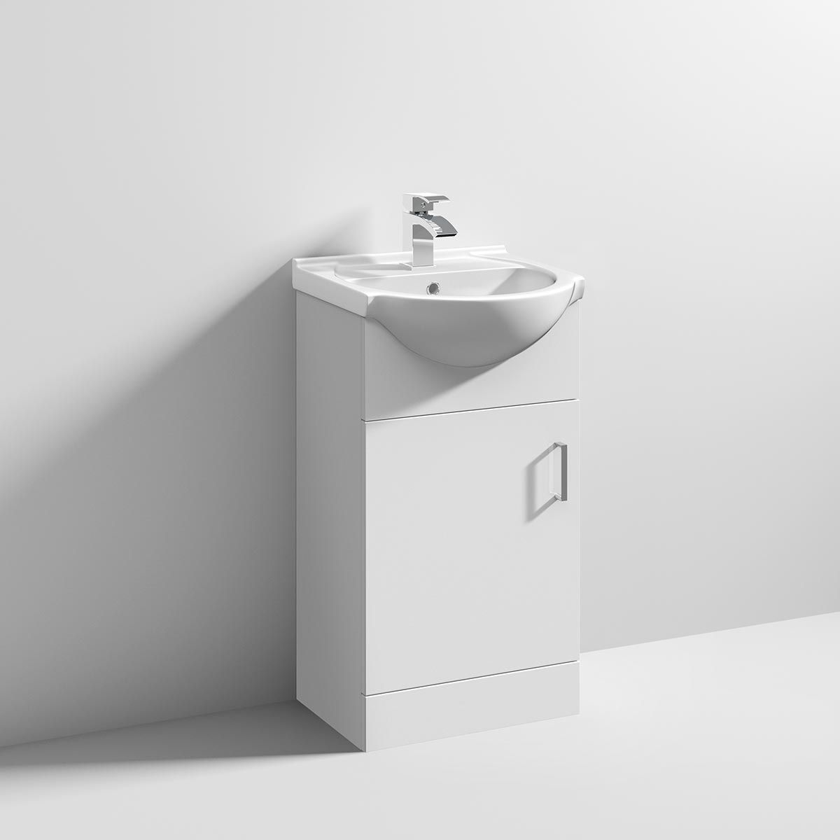 Nuie High Gloss White Vanity Unit with Standard Basin 450mm