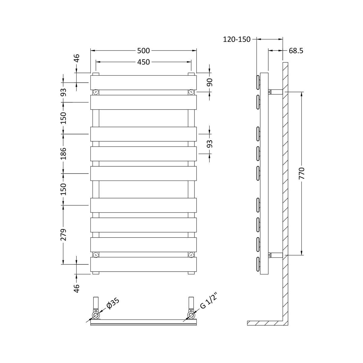 Hudson Reed Flat Piazza Chrome Dual Fuel 9 Bar Designer Radiator 950 x 500mm Dimensions