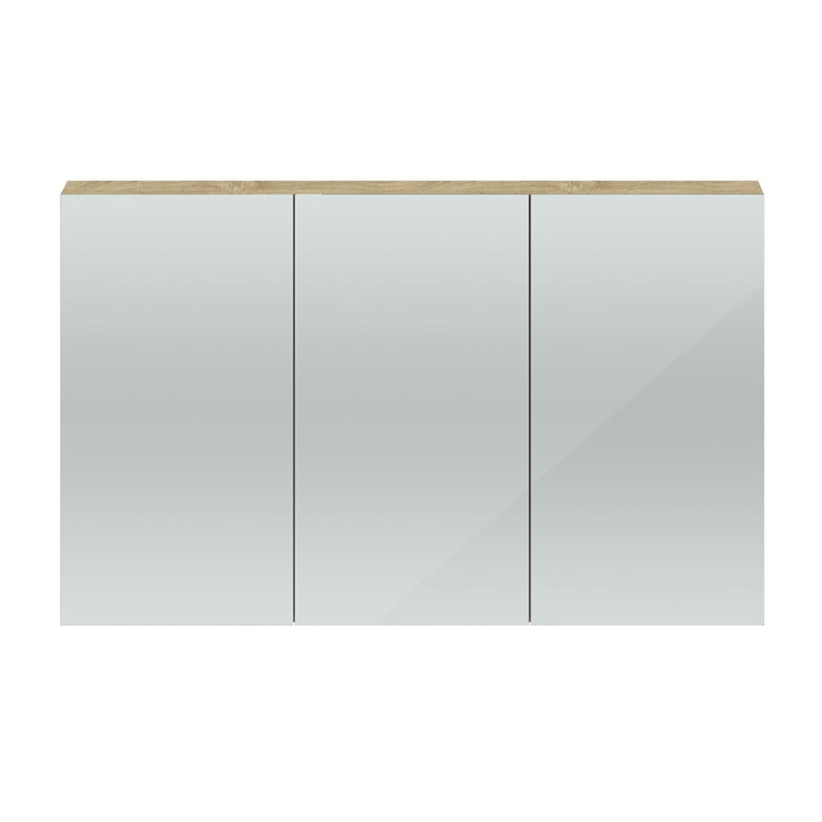 Hudson Reed Quartet Natural Oak 3 Door Mirror Cabinet 1350mm