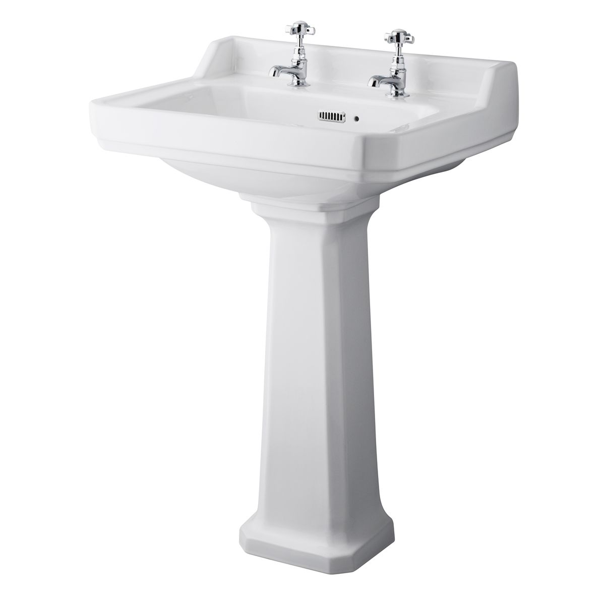Hudson Reed Richmond 2 Tap Hole Basin with Full Pedestal 600mm