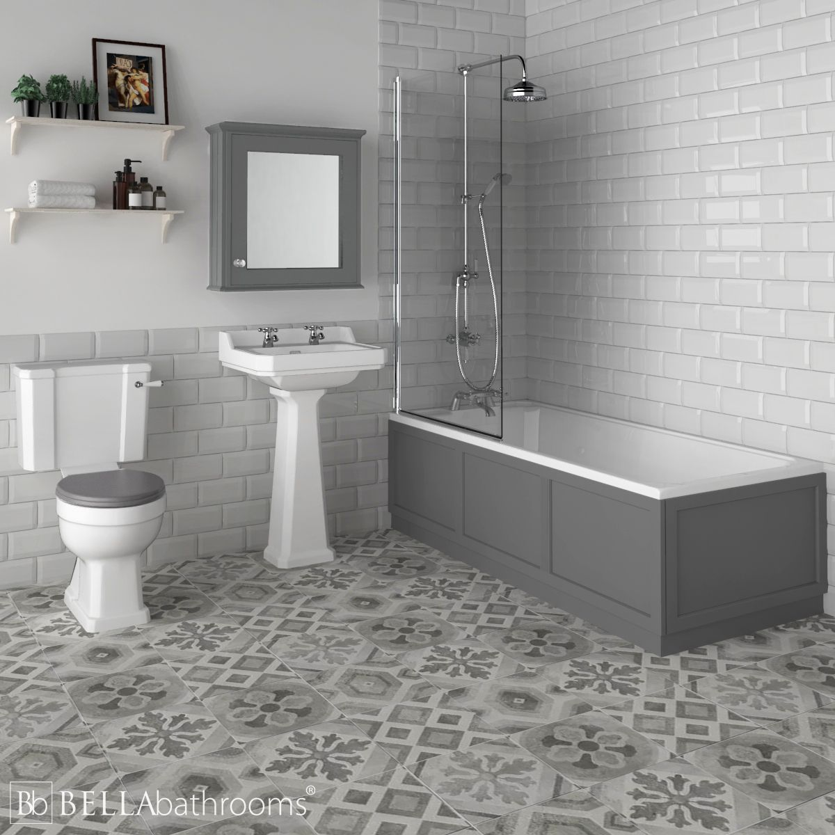 Hudson Reed Richmond Traditional Shower Bath Suite Storm Grey