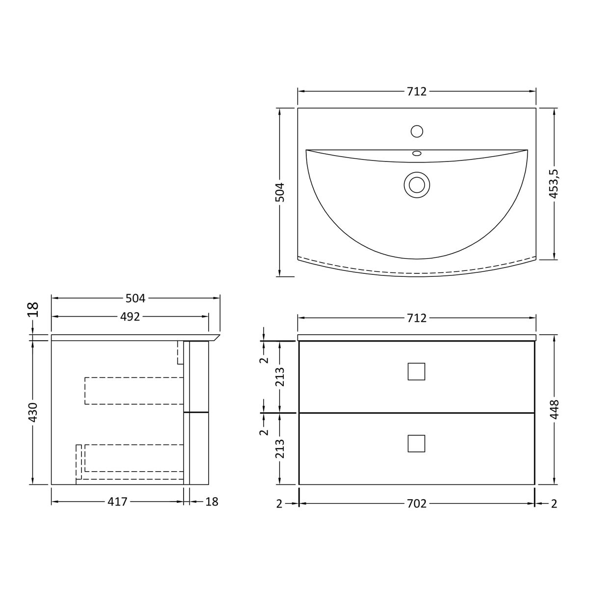 Hudson Reed Sarenna Moon White Vanity Unit 700mm Dimensions