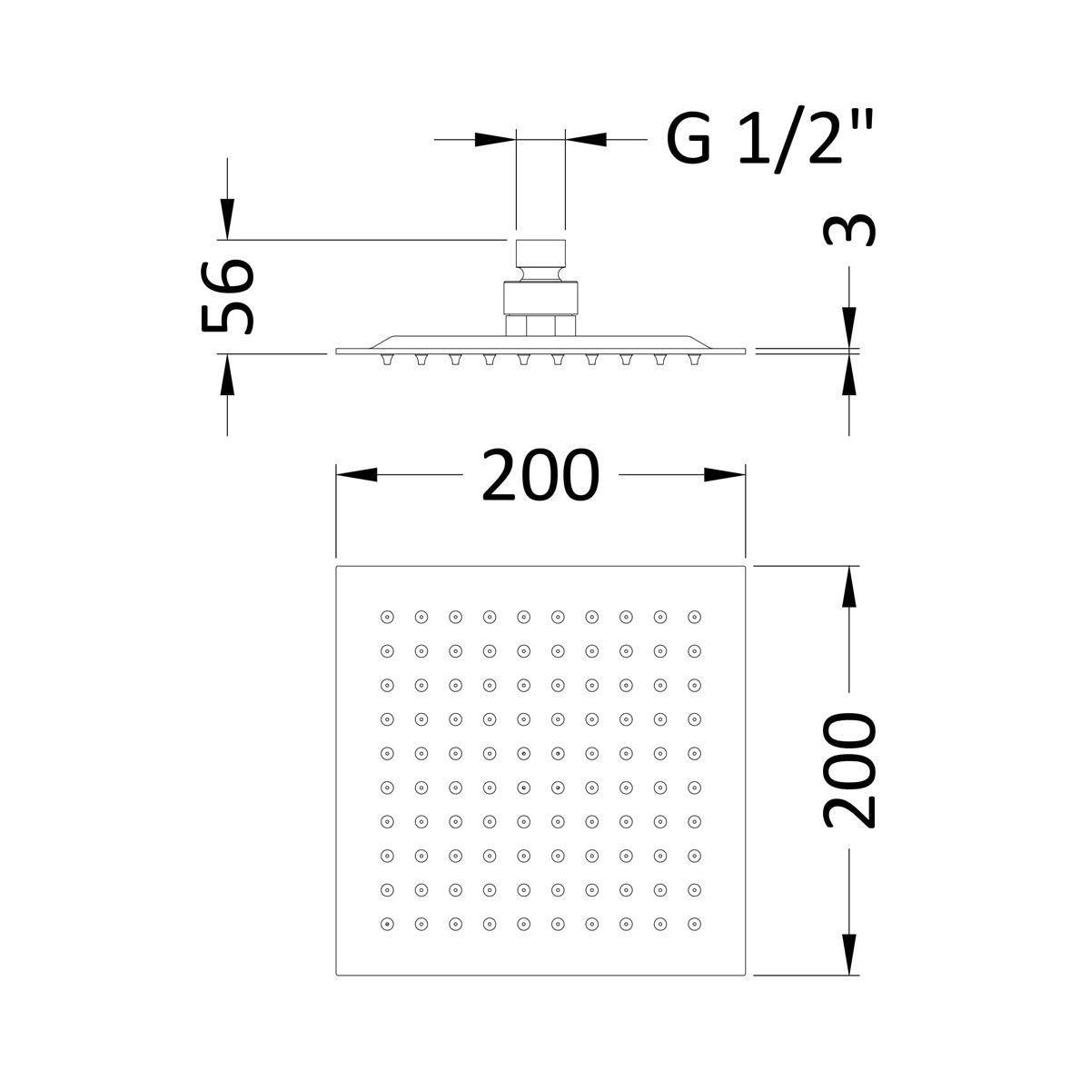 Hudson Reed Square Fixed Shower Head Dimensions