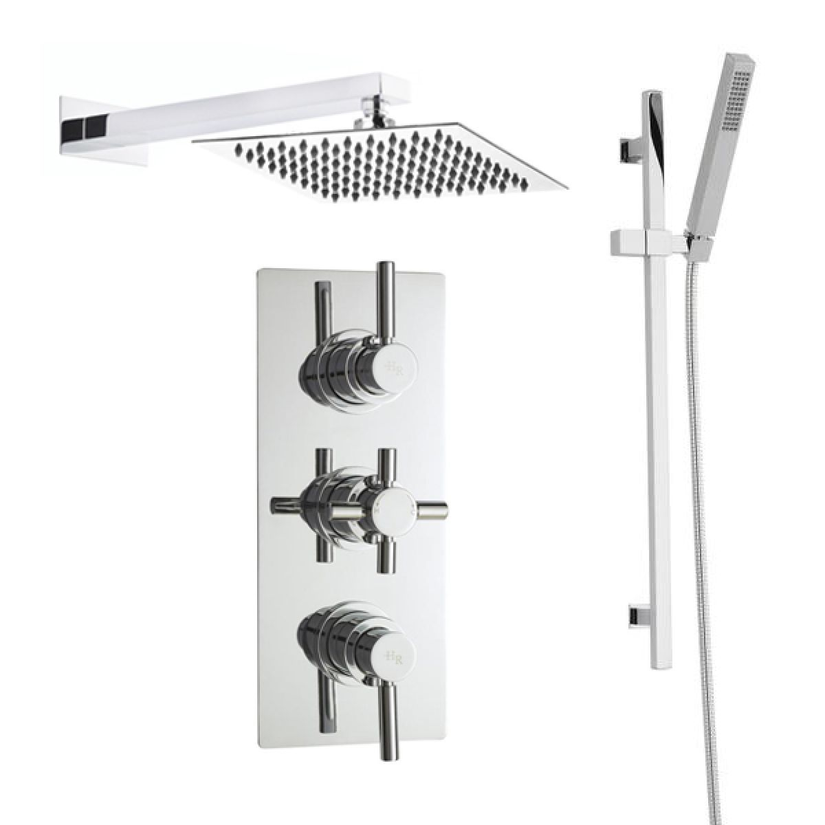Hudson Reed Tec Pura Plus Triple Thermostatic Shower with Slider Rail and Fixed Shower Head