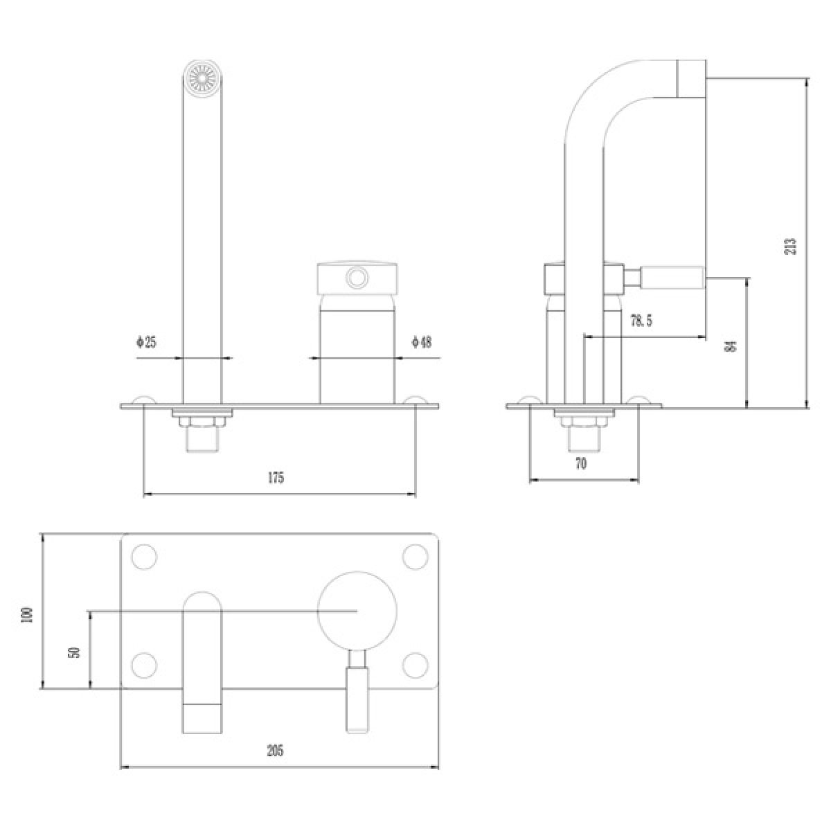 Hudson Reed Tec Single Lever Wall Mounted Basin Bath Filler Tap  Measurements