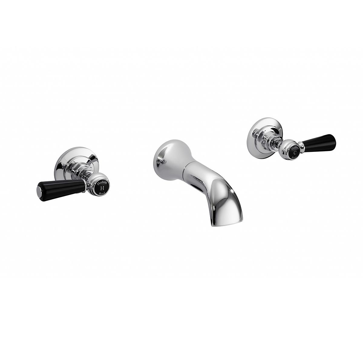 Hudson Reed Topaz Black Lever 3 Tap Hole Wall Mounted Dome Collar Basin Mixer