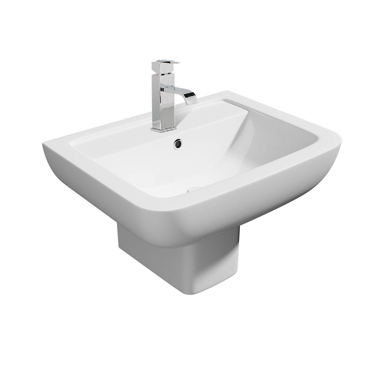 Kartell K-VIT Options 600 1 Tap Hole Basin with Square Semi Pedestal