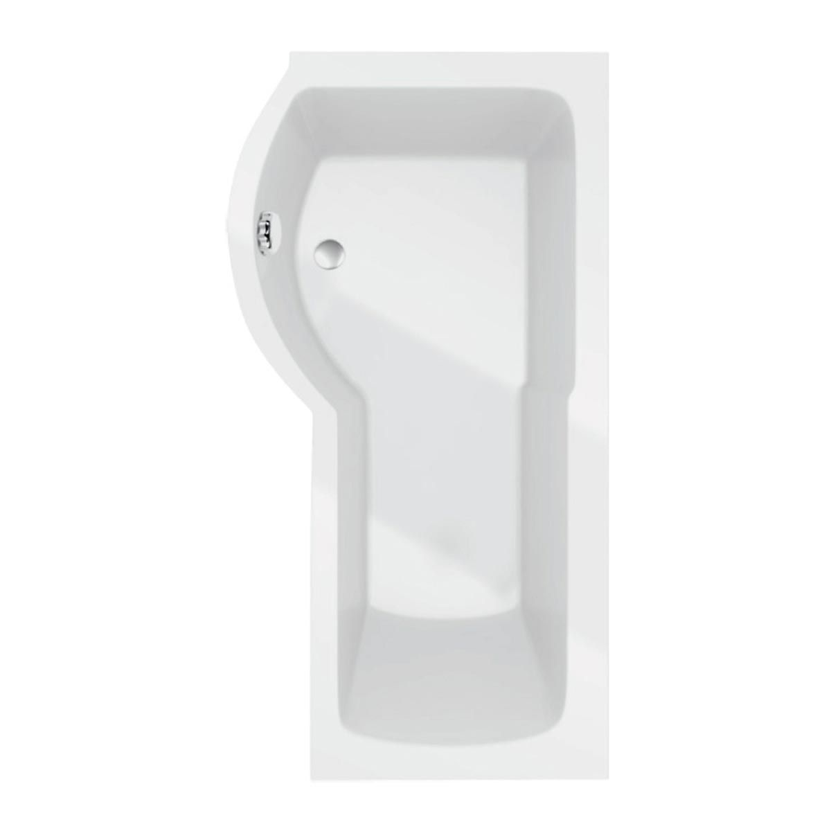 Kartell K-vit White Adapt P Shaped Left Hand Bath Only with Leg Sets 1500mm