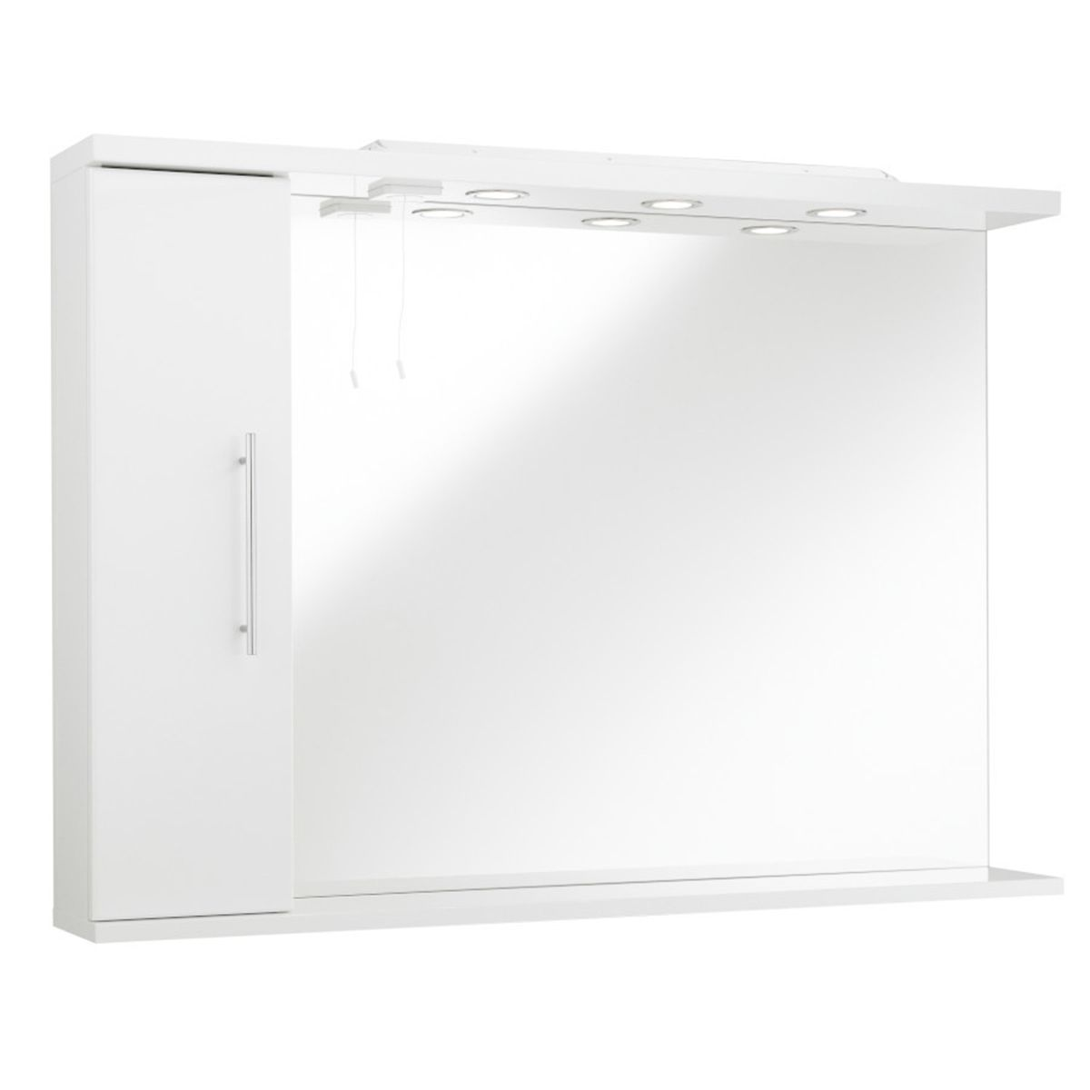 Kartell Encore White Mirror and Light with Side Cabinet 1050mm