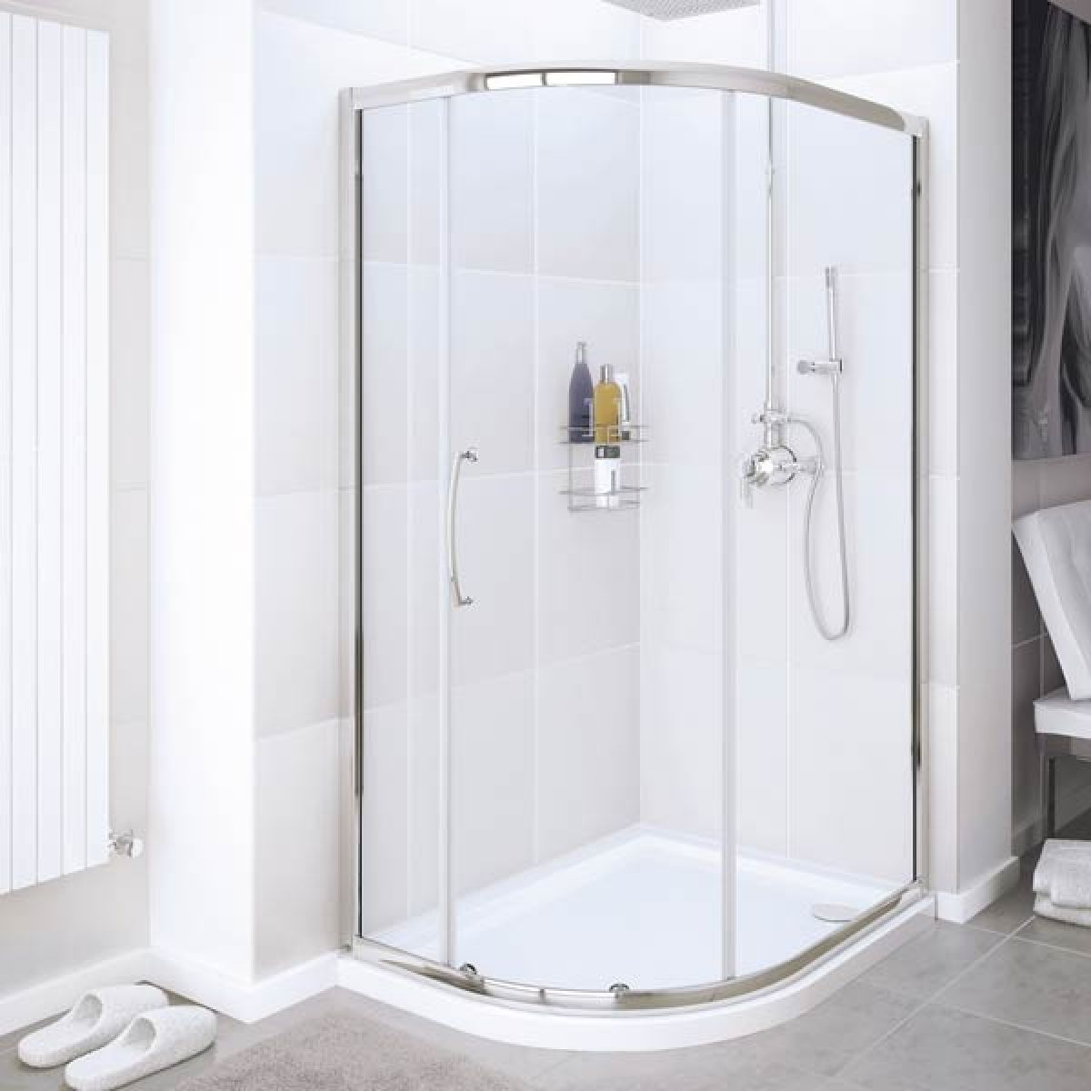 Lakes Silver Single Door Offset Quadrant Shower Enclosure