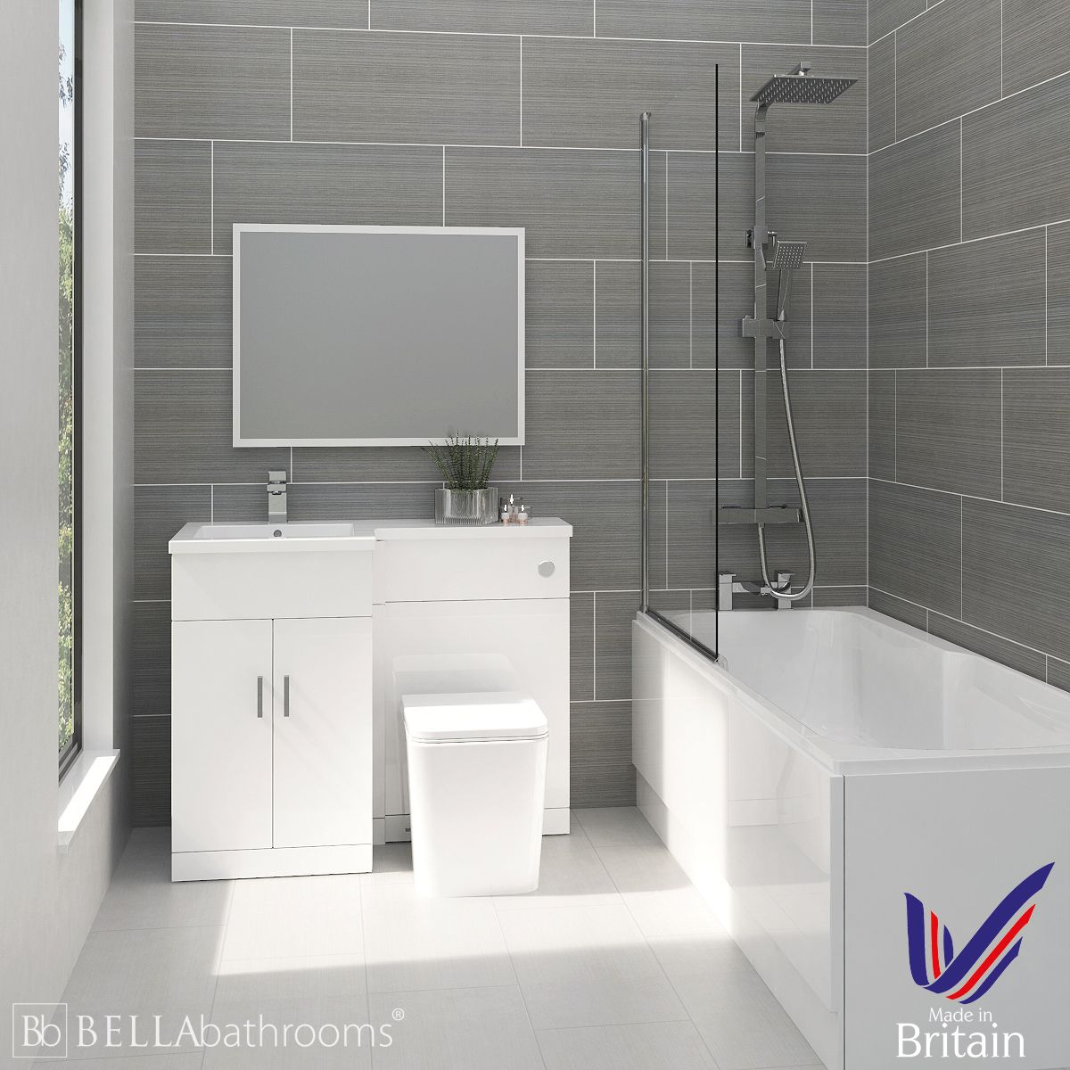 Elation Combination L Shape White Furniture Suite and Nuie Linton Shower Bath Left Hand