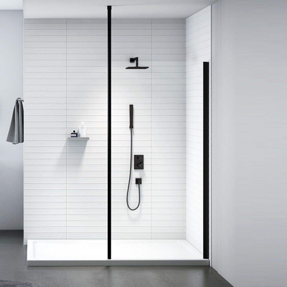 Merlyn Black Frame Shower Screen with Floor to Ceiling Post