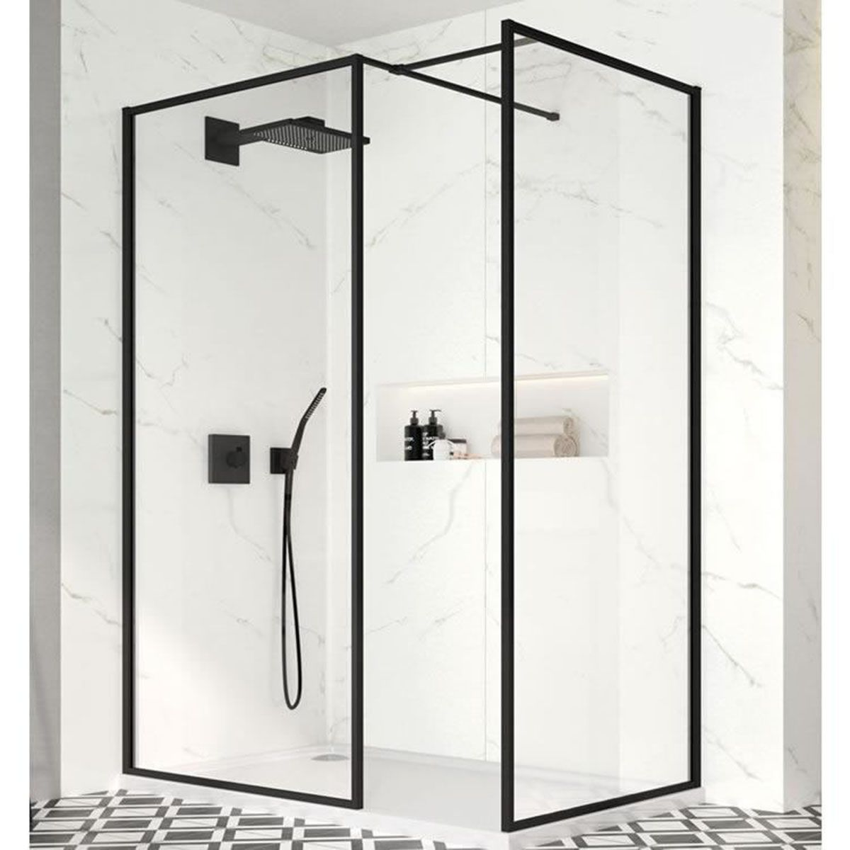 Merlyn Black Framed Shower Screen with Optional Side Panel