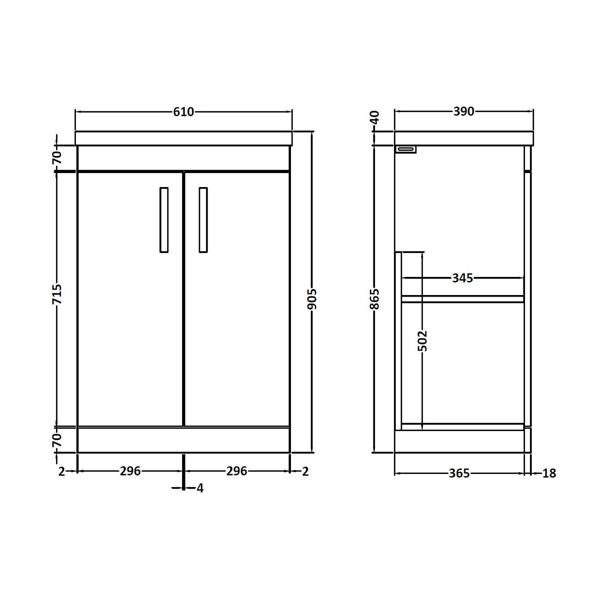 Nuie Athena Gloss Grey 2 Door Floor Standing Unit 600mm with Mid Edge Basin Dimension