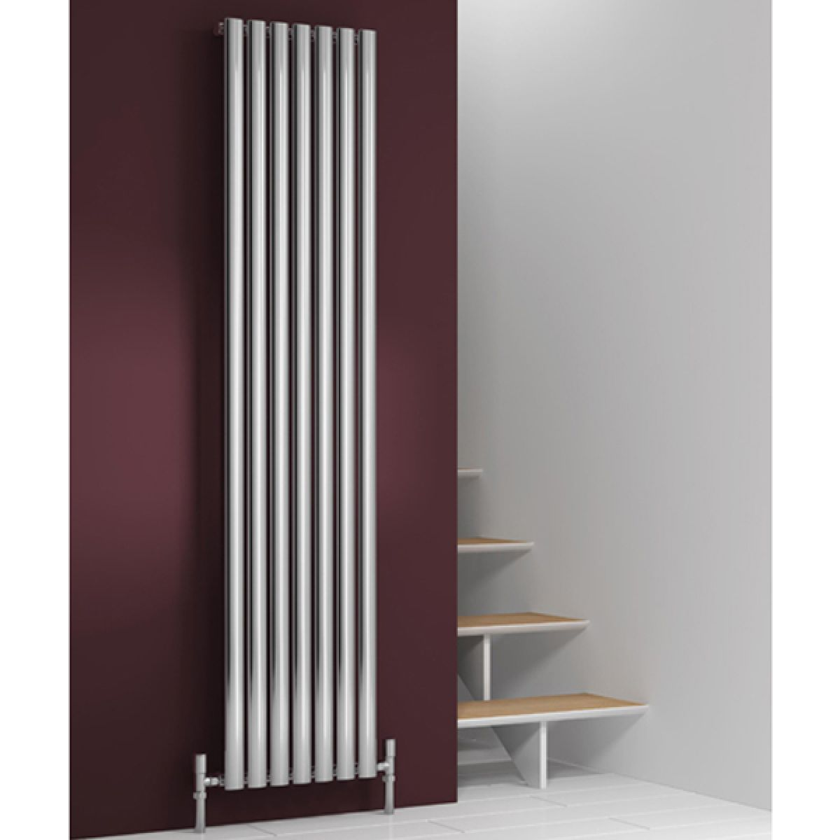 Reina Nerox Single Polished Stainless Steel Designer Column Radiator