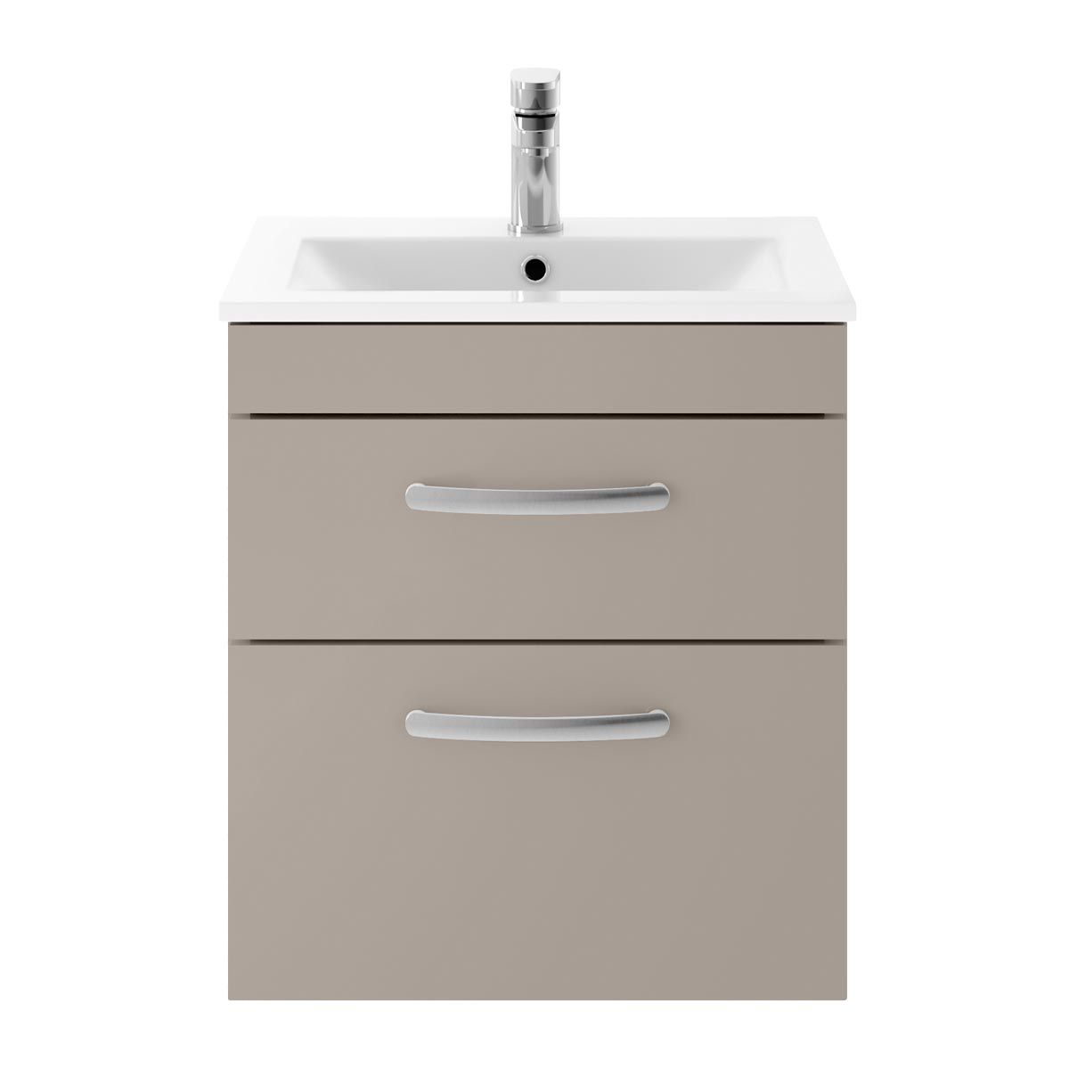Nuie Athena Stone Grey 2 Drawer Wall Hung Vanity Unit with 18mm Profile Basin 500mm
