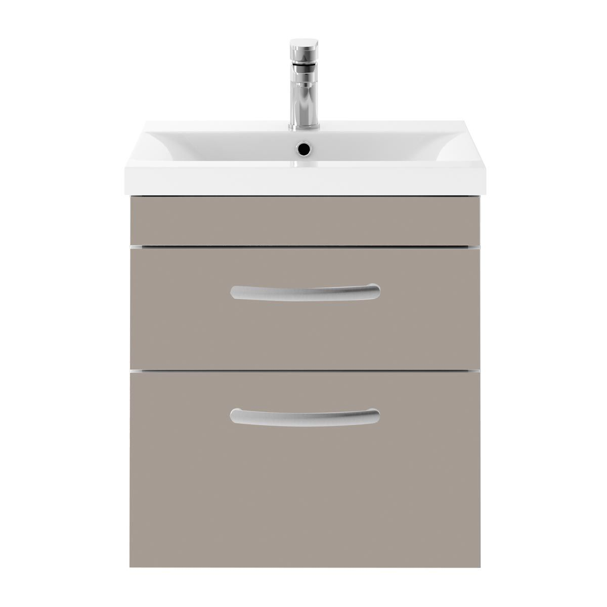 Nuie Athena Stone Grey 2 Drawer Wall Hung Vanity Unit with 40mm Profile Basin 500mm