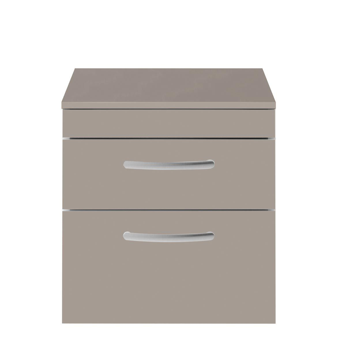 Nuie Athena Stone Grey 2 Drawer Wall Hung Vanity Unit with 18mm Worktop 500mm