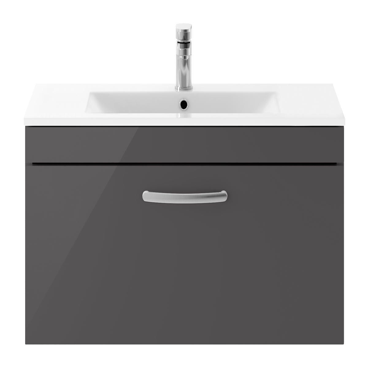 Nuie Athena Gloss Grey 1 Drawer Wall Hung Vanity Unit with 18mm Profile Basin 800mm