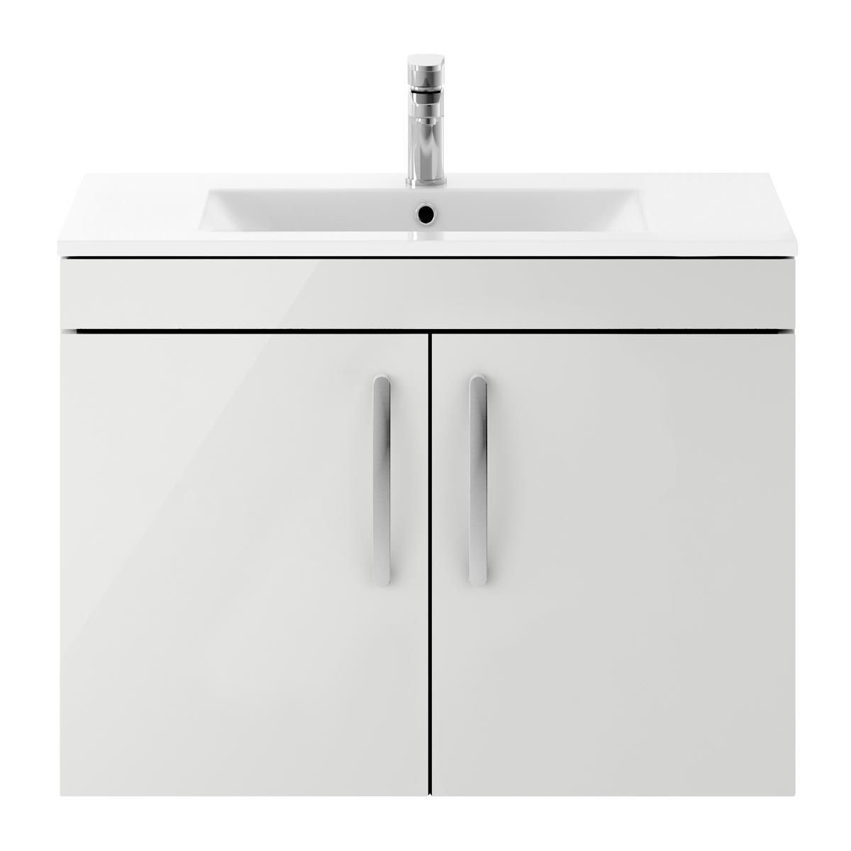 Nuie Athena Gloss Grey Mist 2 Door Wall Hung Vanity Unit with 18mm Profile Basin 800mm