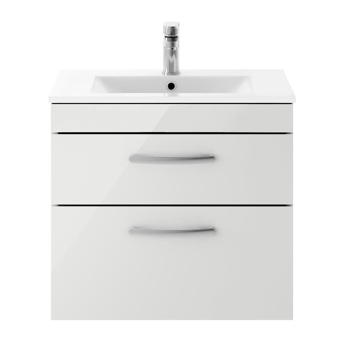 Nuie Athena Gloss Grey Mist 2 Drawer Wall Hung Vanity Unit with 18mm Profile Basin 600mm