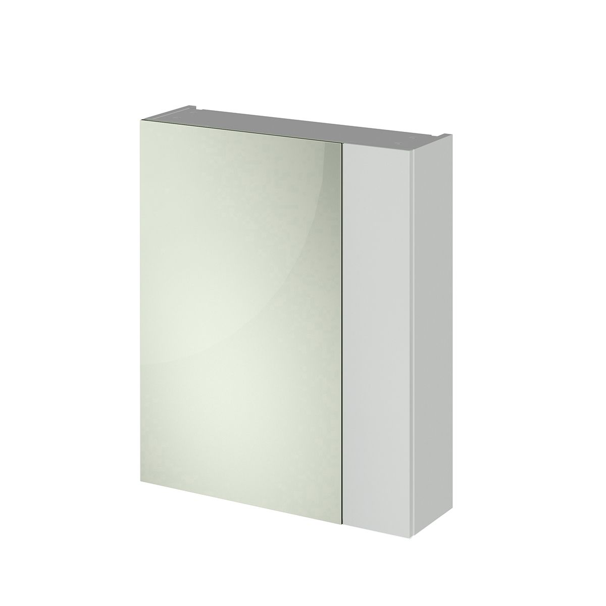 Nuie Athena Gloss Grey Mist Double Mirrored Bathroom Cabinet 600mm