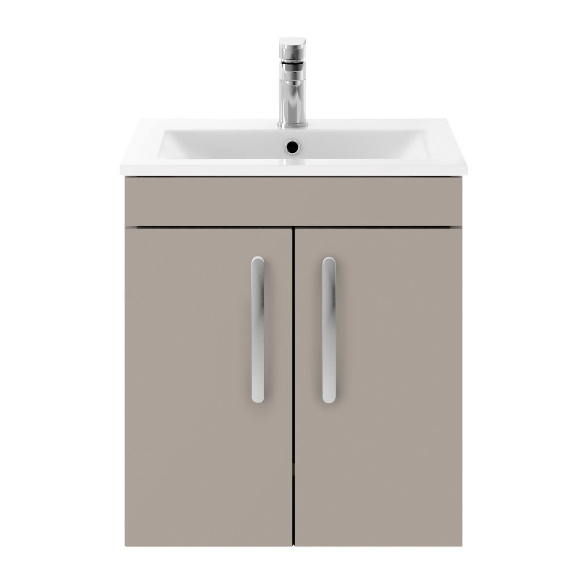 Nuie Athena Stone Grey 2 Door Wall Hung Vanity Unit with 18mm Profile Basin 500mm
