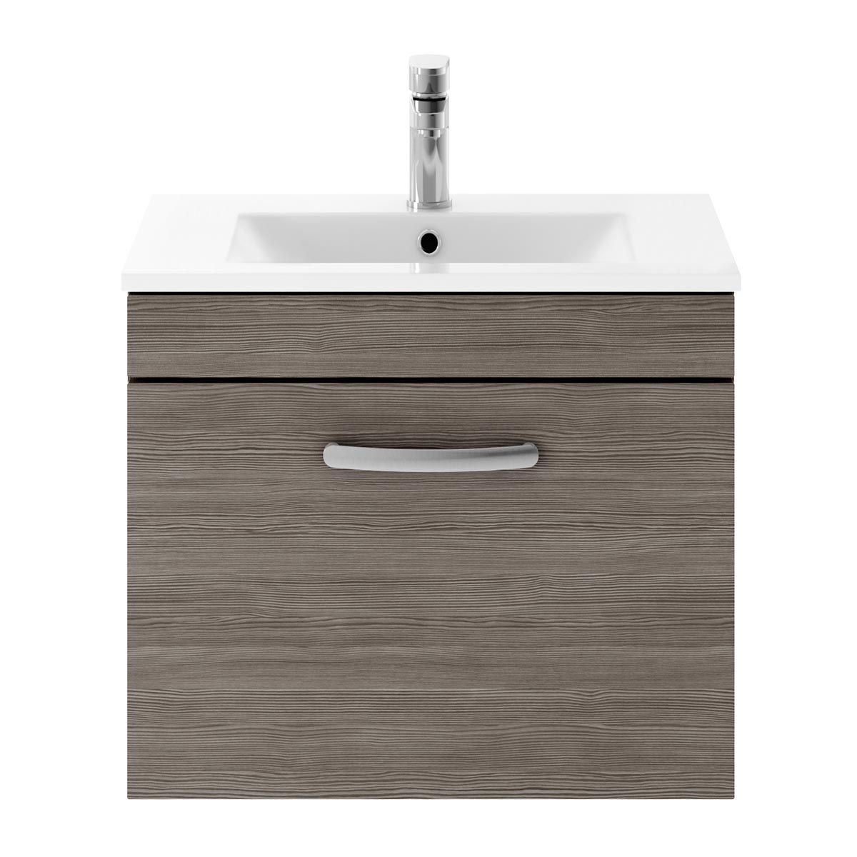 Nuie Athena Grey Avola 1 Drawer Wall Hung Vanity Unit with 18mm Profile Basin 600mm