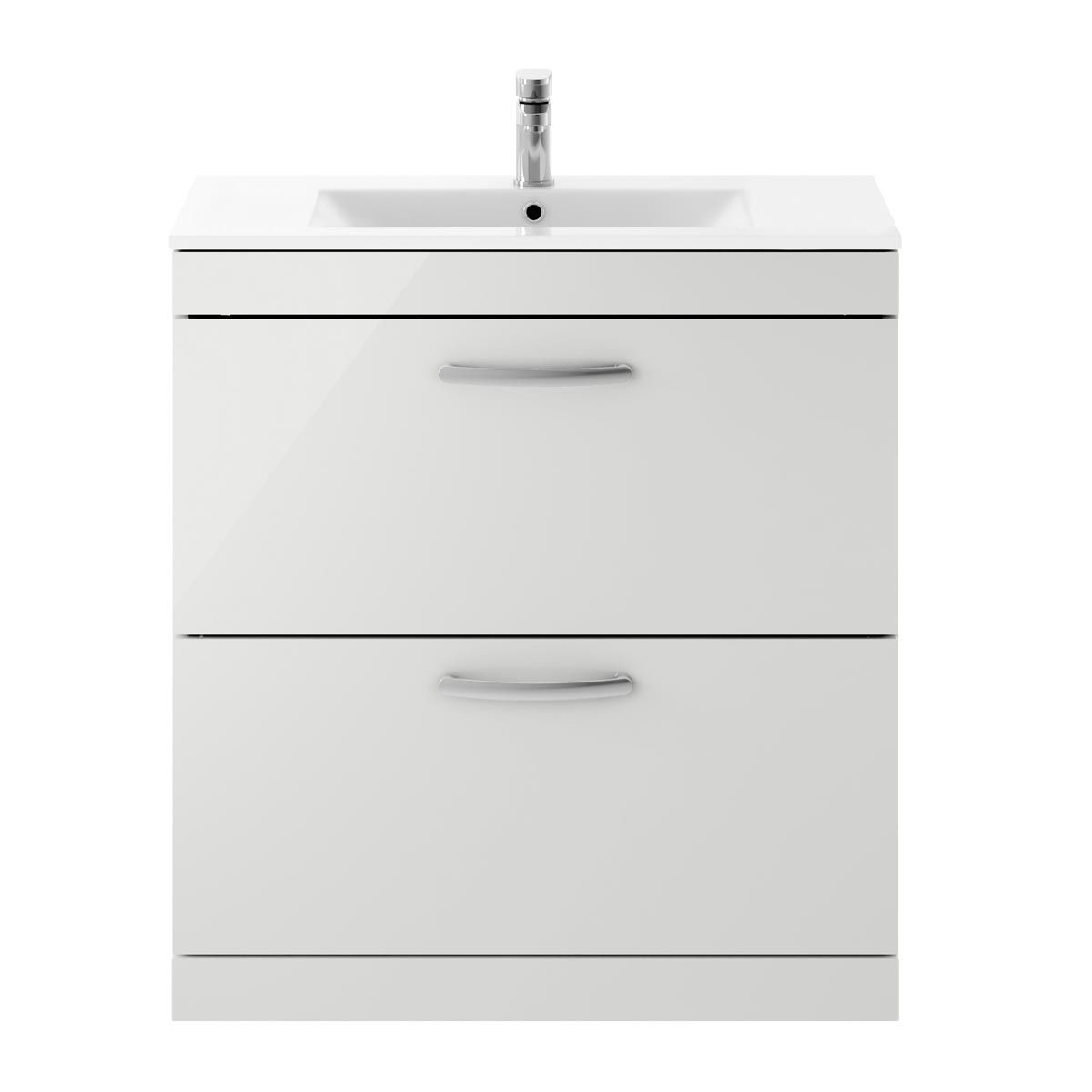Nuie Athena Gloss Grey Mist 2 Drawer Floor Standing Vanity Unit with 18mm Profile Basin 800mm