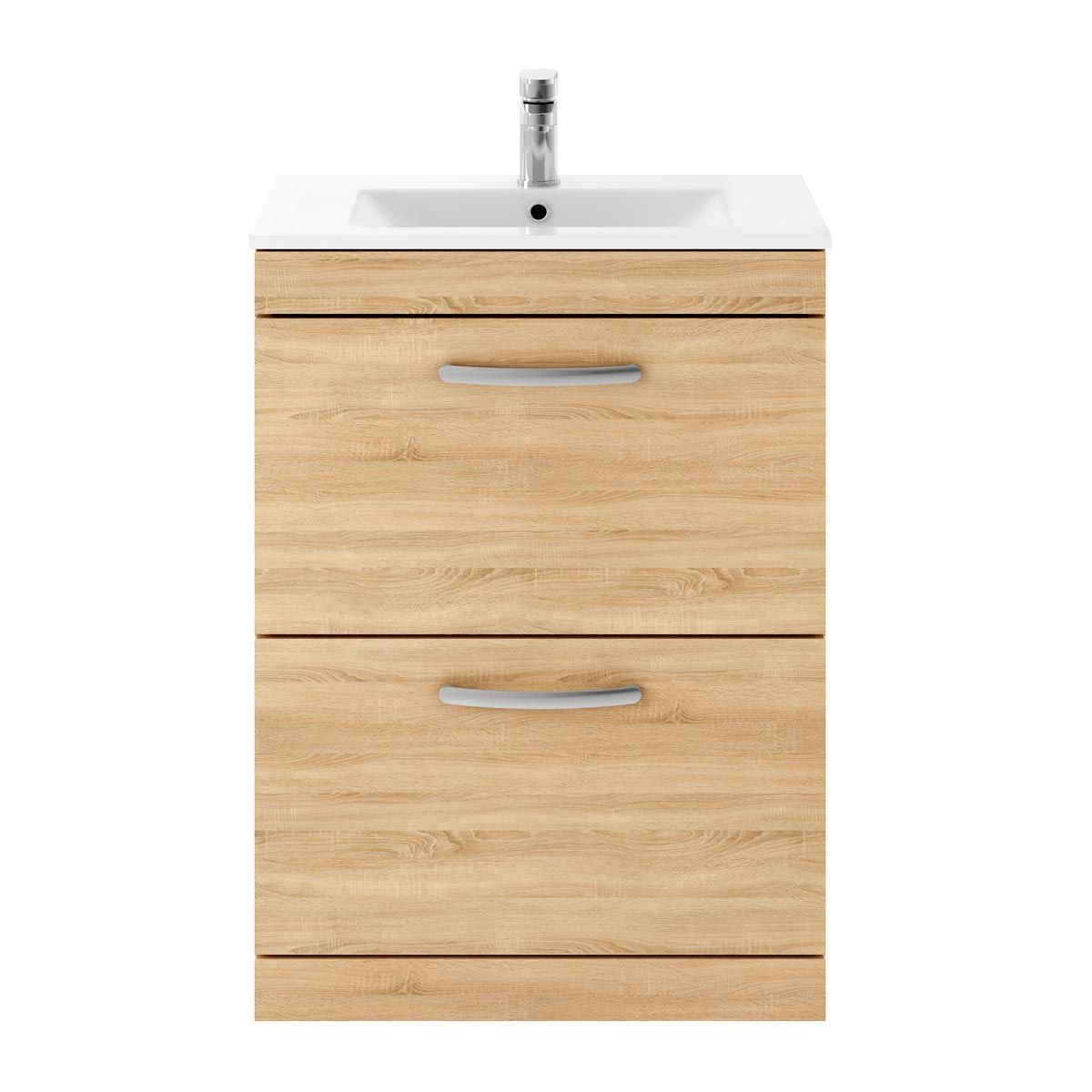 Nuie Athena Natural Oak 2 Drawer Floor Standing Vanity Unit with 18mm Profile Basin 600mm