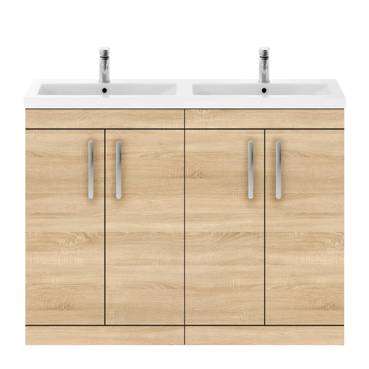 Nuie Athena Natural Oak 4 Door Floor Standing Vanity Unit with Ceramic Double Basin 1200mm