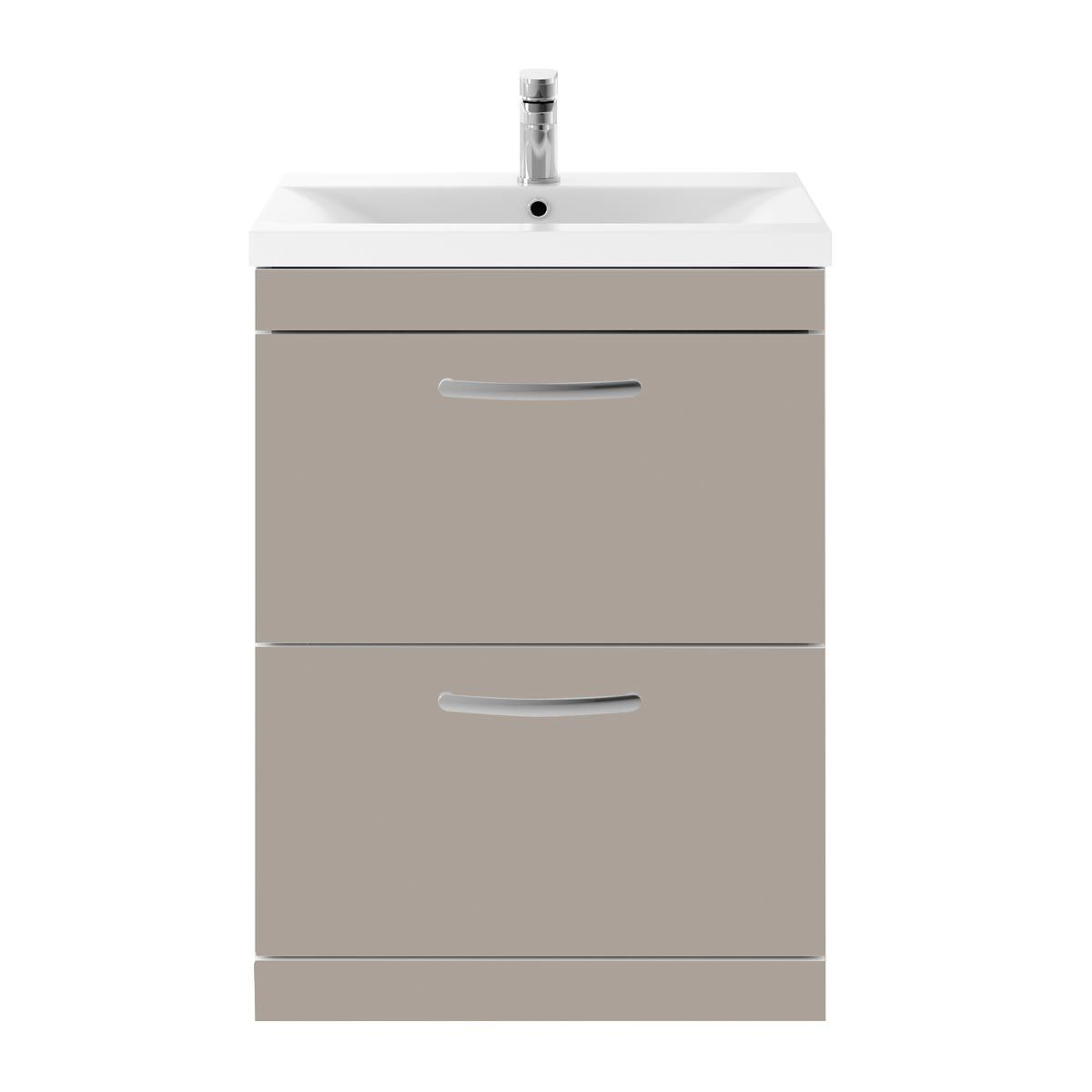 Nuie Athena Stone Grey 2 Drawer Floor Standing Vanity Unit with 40mm Profile Basin 600mm