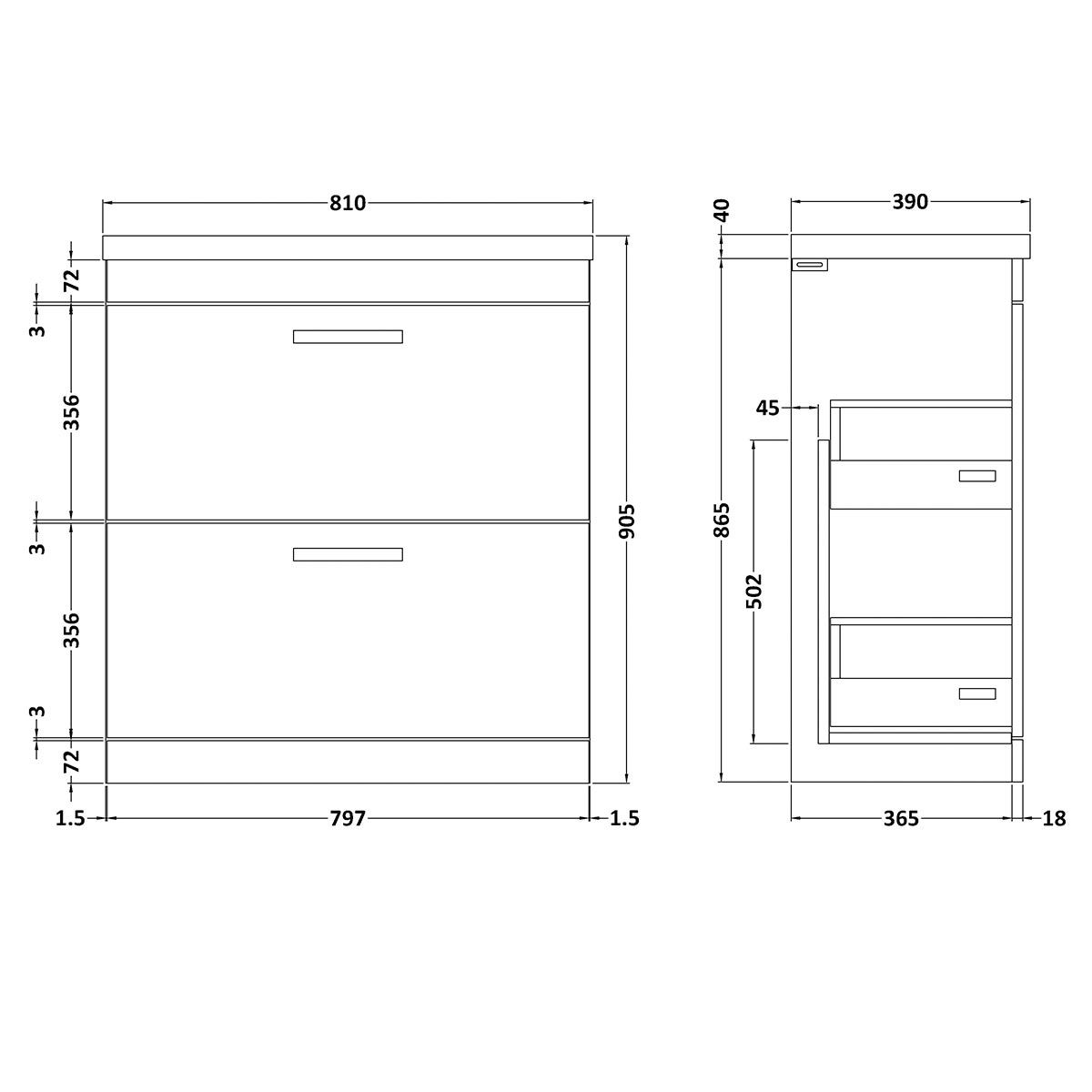 Nuie Athena Stone Grey 2 Drawer Floor Standing Vanity Unit with 40mm Profile Basin 800mm Line Drawing