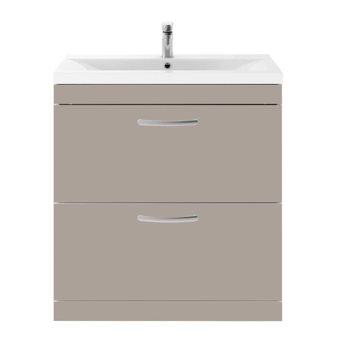 Nuie Athena Stone Grey 2 Drawer Floor Standing Vanity Unit with 40mm Profile Basin 800mm